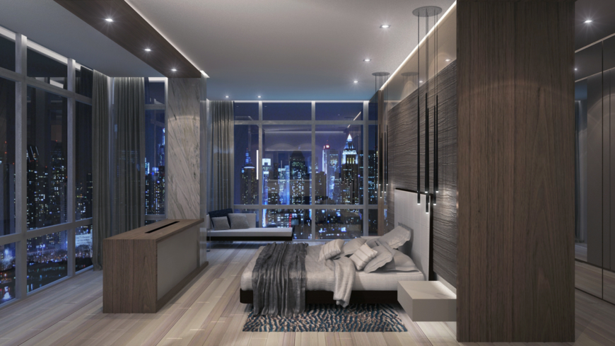 The penthouse's bedroom is an enormously spacious room surrounded on three sides by a cityscape view.