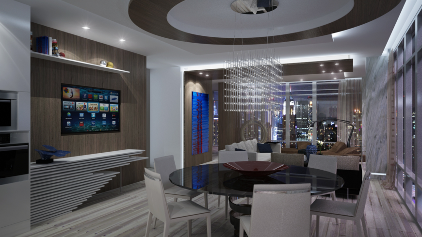 A closer look at the dining room, showing the glossy circular table with a helix support in the center and the cube chandelier hanging from the circular accent medallion on the ceiling.