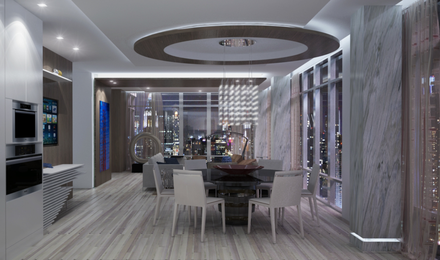 A final look at the dining room from the kitchen, showing the way the rooms flow into one another.