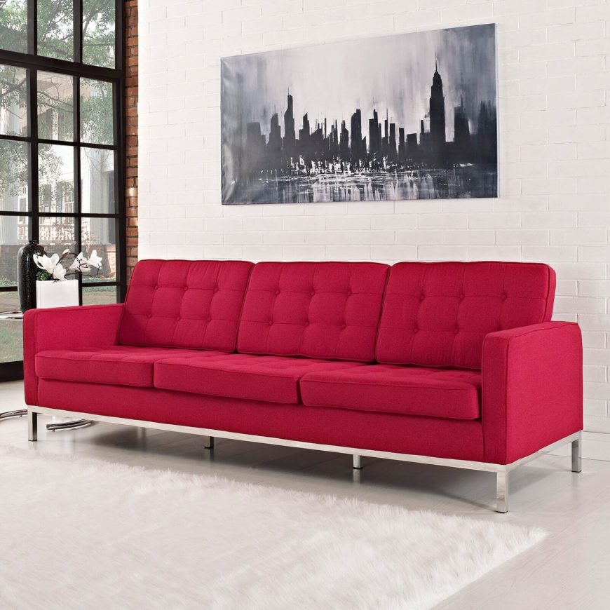 This Bright Red Contemporary Sofa Sports Clean Lines And A Bespoke, Button  Tufted Set Of