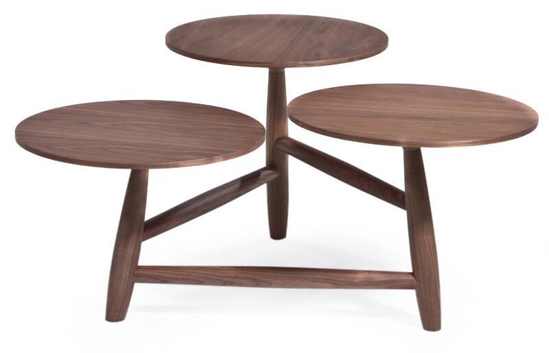 A truly unique design, this table sports a trio of circular surfaces, all crafted out of walnut. The design allows for separate drink placements and adds a striking element to any room.
