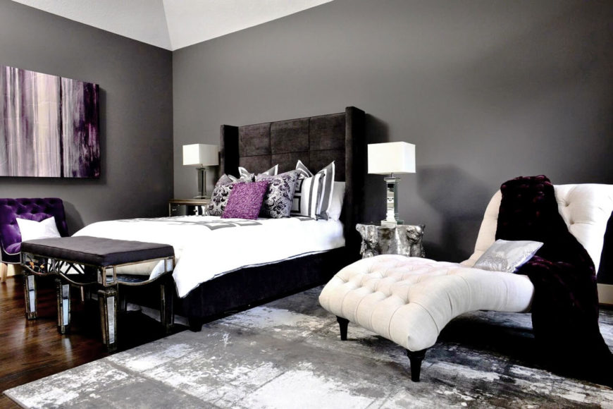 A glorious master bedroom in royal purple, gray, and white.