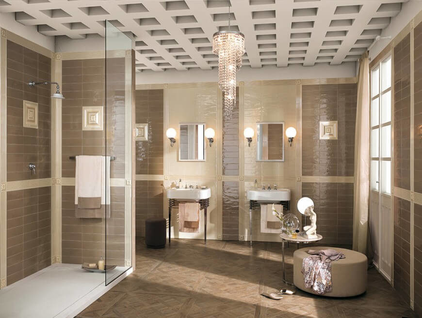 a delicate chandelier hangs from this ceiling for a truly classy look the taupe color - Luxury Walk In Showers