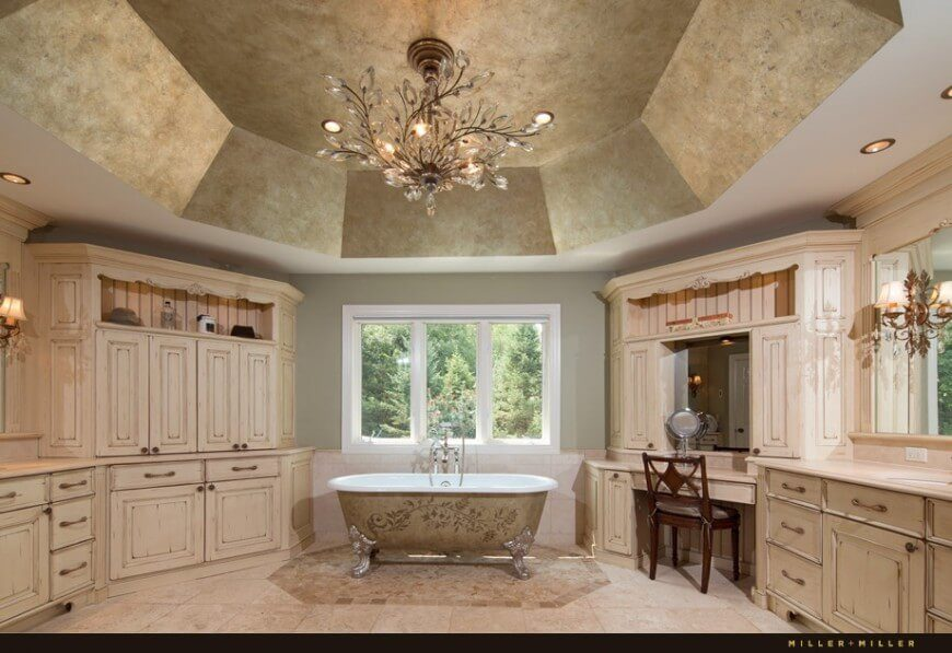 This Classy Bathroom Features Intricate Designs On The Bathtub And A Large  Octogonal Textured Ceiling.