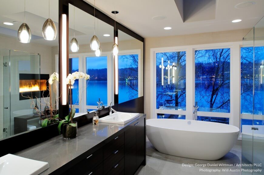 This Charming Bathroom Has Lots Of Windows For A Fantastic And Relaxing  View. A Fireplace
