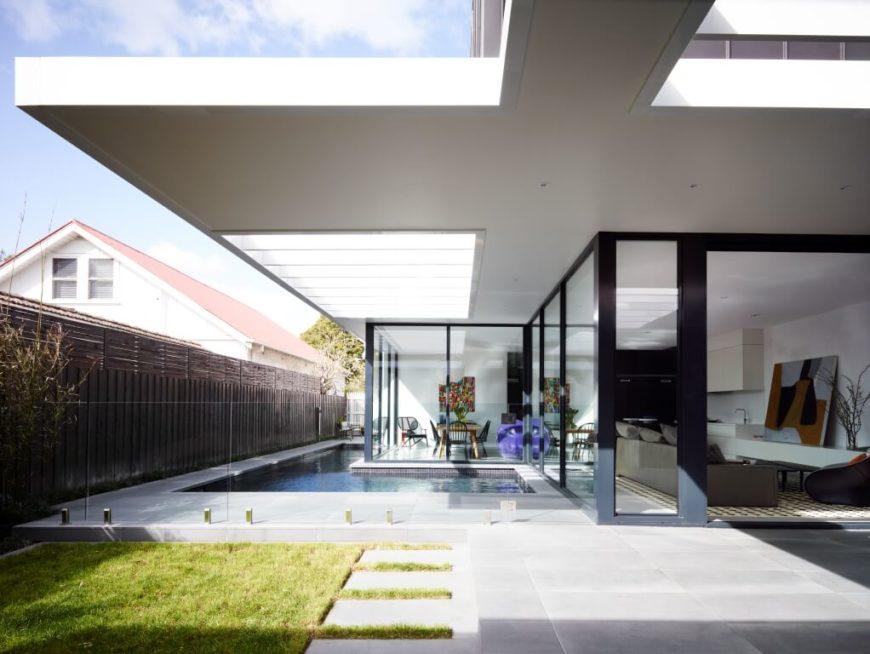 Modern open-plan design home with wraparound glazing.