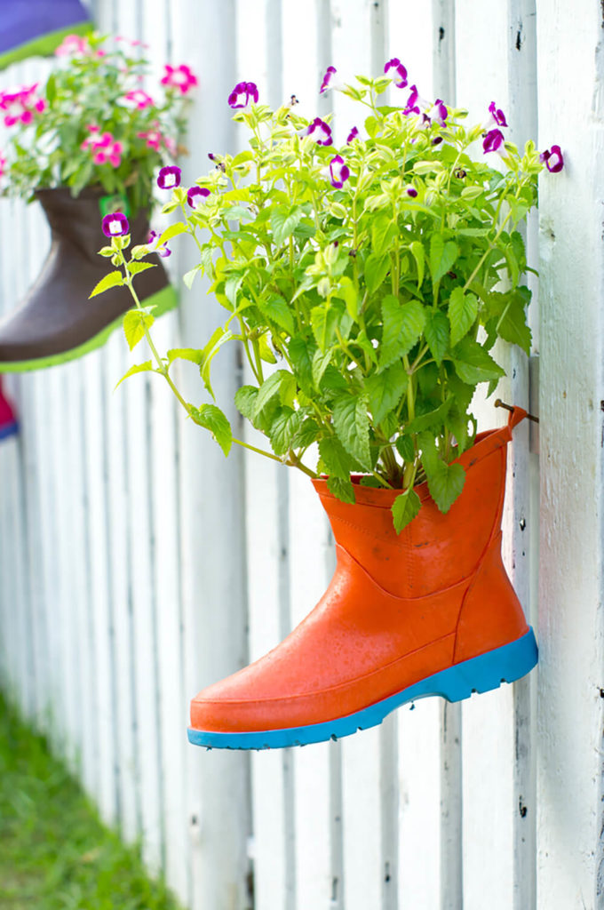 Similarly, painting them in bright, eye-catching colors can complement the other colors in your garden as well.
