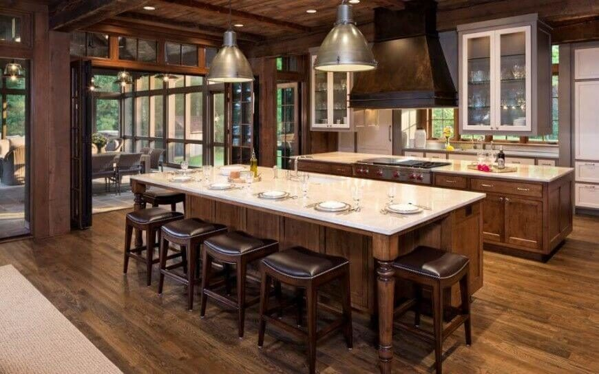 In A Sprawling Rustic Styled Home, We Find This Large Kitchen Awash In Rich