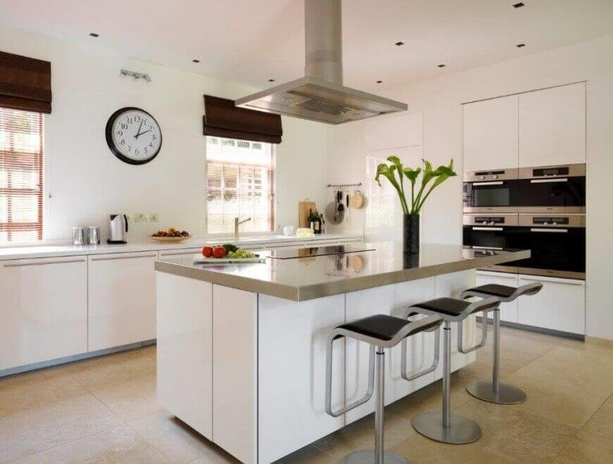 Marvelous A Classic White Kitchen With Stainless Steel Appliances And Modern Bar  Stools. Design Ideas