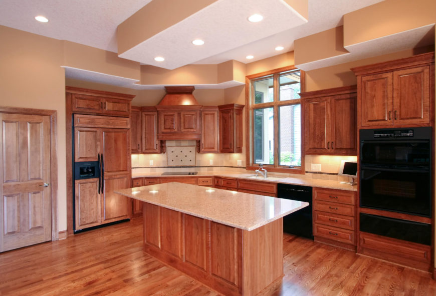 Fantastic Kitchens With Black Appliances PICTURES - Honey oak kitchen cabinets with granite countertops