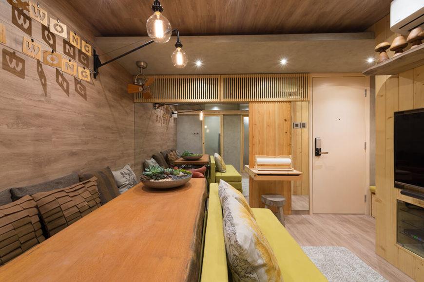 Natural wood filled modern interior design.