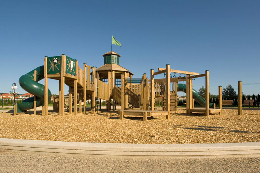 This Sprawling Wooden Play Fort Even Flies Its Own Flag! Areas Include  Climbing Walls,