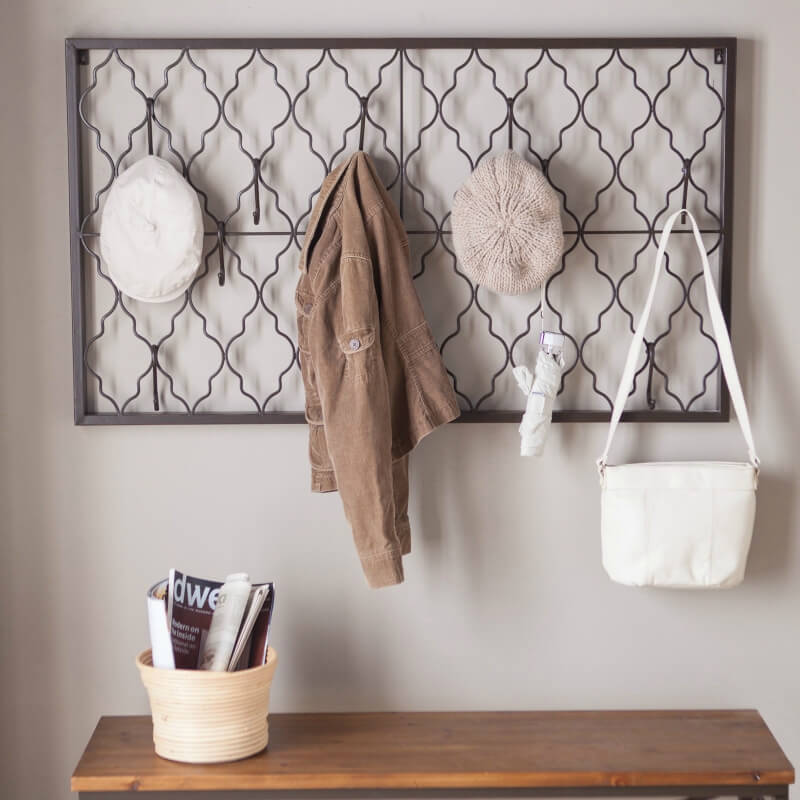 This hook solution doubles as a quaint piece of wall decor that would go wonderfully in a country or rustic-chic home.