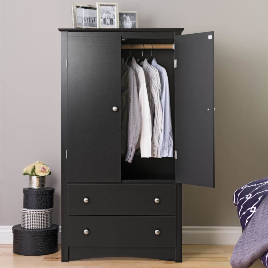Two drawers on the bottom will hold the items that can be folded, while hanging items have plenty of room on the top half.