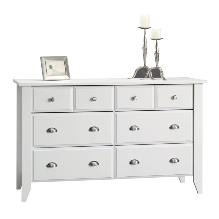 With lots of large and small drawers, this piece has a lot of versatility. Chromed handles give it contemporary flair.