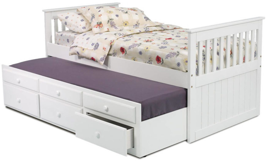 "The top three ""drawers"" are fake, but the bottom three provide storage beneath the bottom mattress. When it's closed, it looks just like a regular storage bed!"