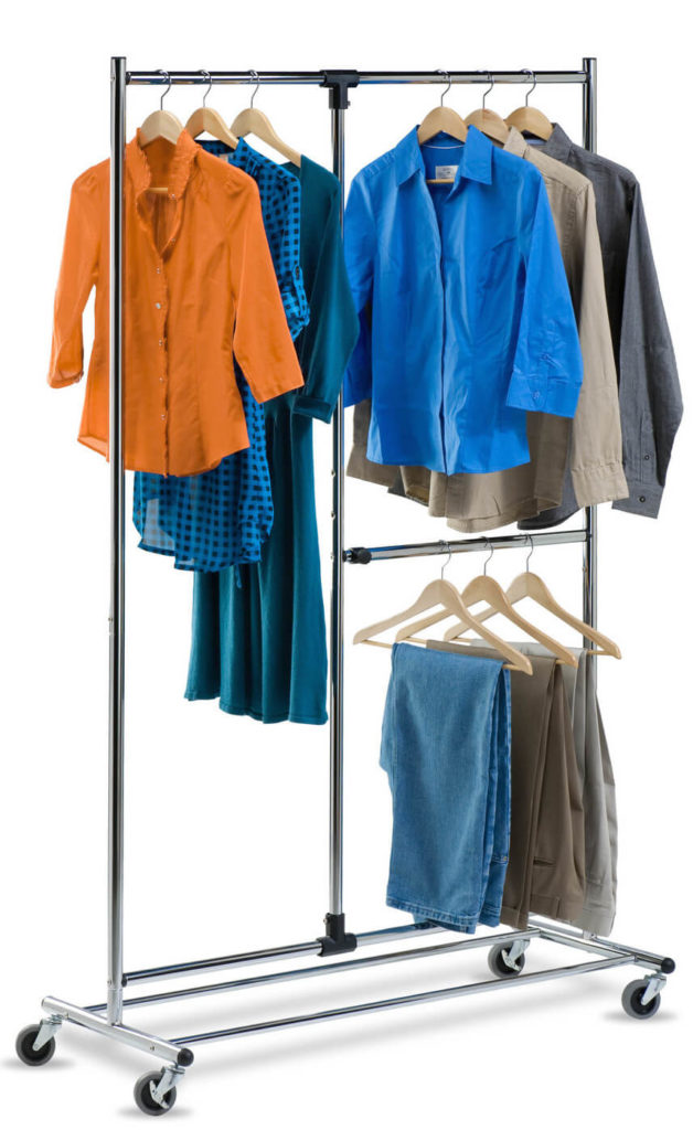 This Rolling Garment Rack Has Two Shorter Racks For Pants And Shirts Along With A