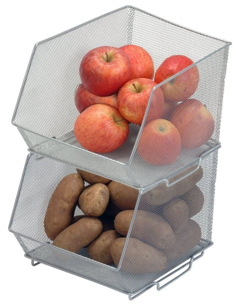 These stackable sections allow you to take advantage of a deep or tall shelf's vertical space.