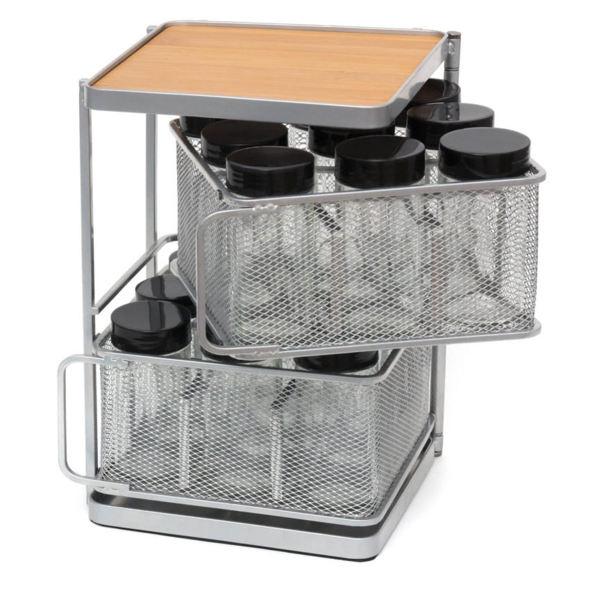 The baskets rotate so you can easily remove the spices when you need them. Otherwise, the rack stays compact.