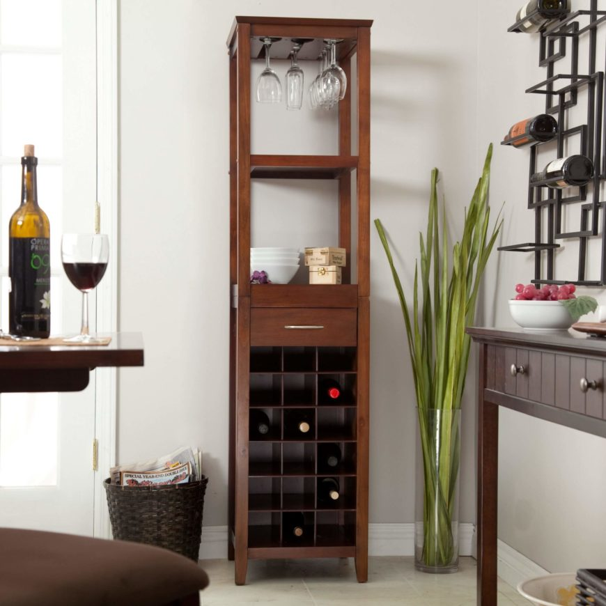 This Wine Tower Can Hold Up To 18 Bottles Of Wine, And Has Several Shelves