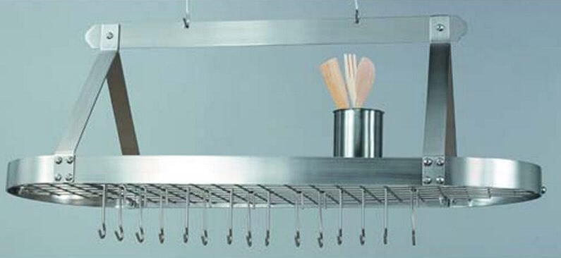 This stainless-steel rack features a center grid so you can re-arrange the hooks to suit your needs.
