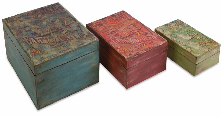 If you're partial to a vintage look, these boxes come in many sizes and will fit nicely on a shelf, hiding whatever you wish.