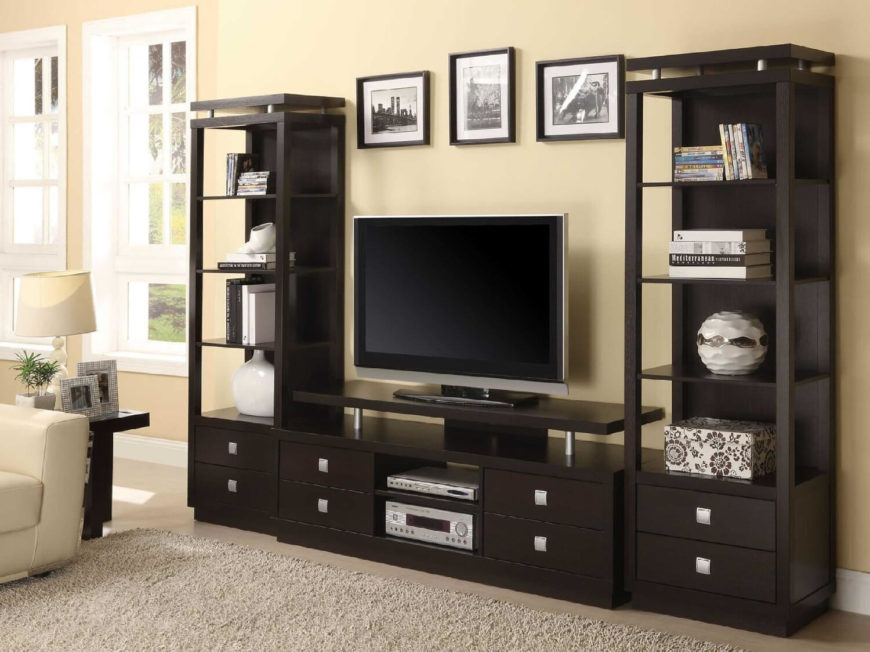 Entertainment centers generally are large pieces of furniture, so they have lots of potential for storage.