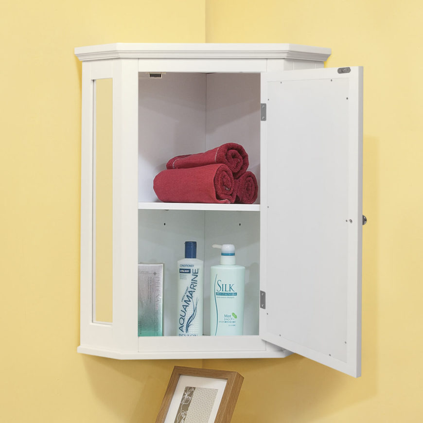 This corner-mounted cabinet has narrow mirrors on the side to add elegance. The deep, tall shelves ensure you will have space for whatever you may need to store.