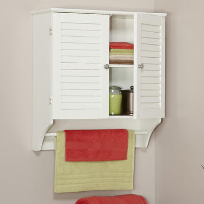 The top has shutter-like doors that keep your clutter hidden away, and a lower towel bar to keep one handy at all times.