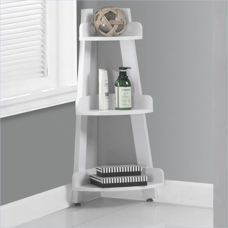 The simple and pretty corner design doesn't take up a lot of space and gives you three shelves to use as storage.