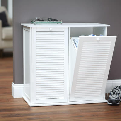 This tilt-out model will match similarly styled cabinets well, and the double hampers allow you to pre-sort your laundry.