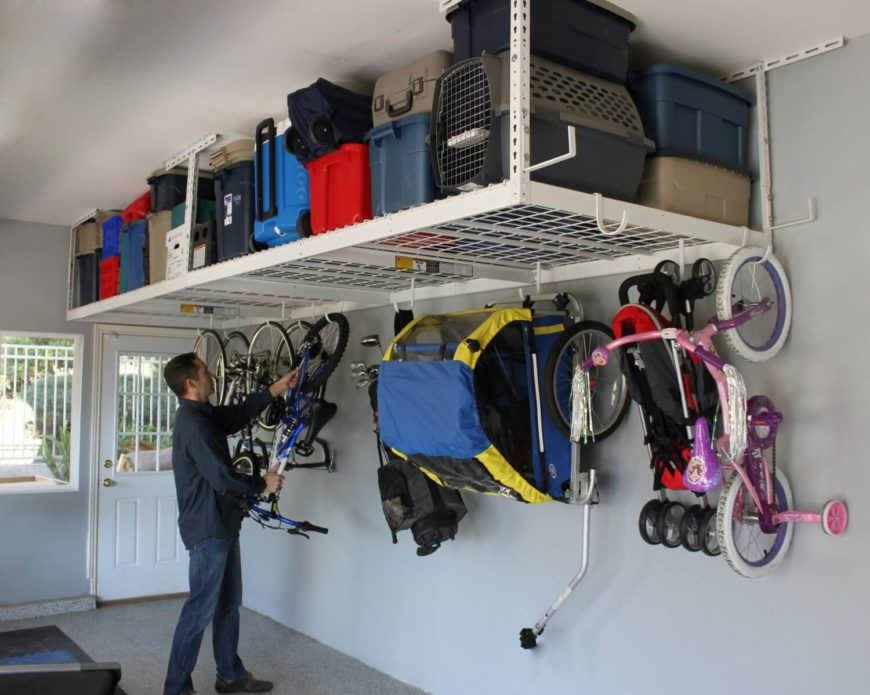 This rack also includes sturdy hooks that you can use to store bicycles, sports equipment, or strollers, getting them up off of your floor during the off-season.
