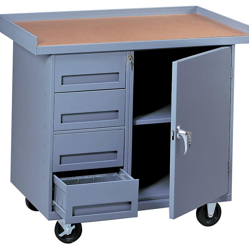 This workbench is on wheels, which means you can move it around as you need it, instead of crossing the room to get tools.
