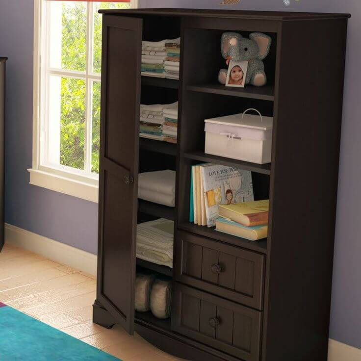 This armoire has a doored cabinet to the left, and shelves and drawers on the right for a variety of storage options.