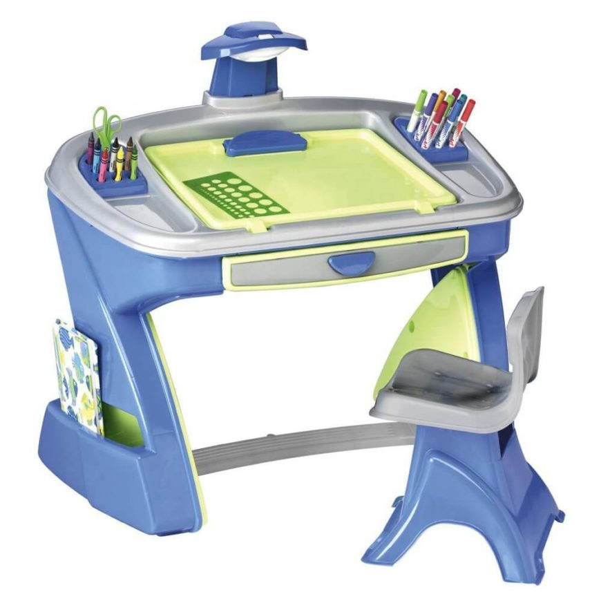 This miniature desk is built from sturdy plastic, but is light enough to move easily for an adult. Pockets on the side and a drawer in the front provide extra storage in addition to the crayon and marker slots on the top.