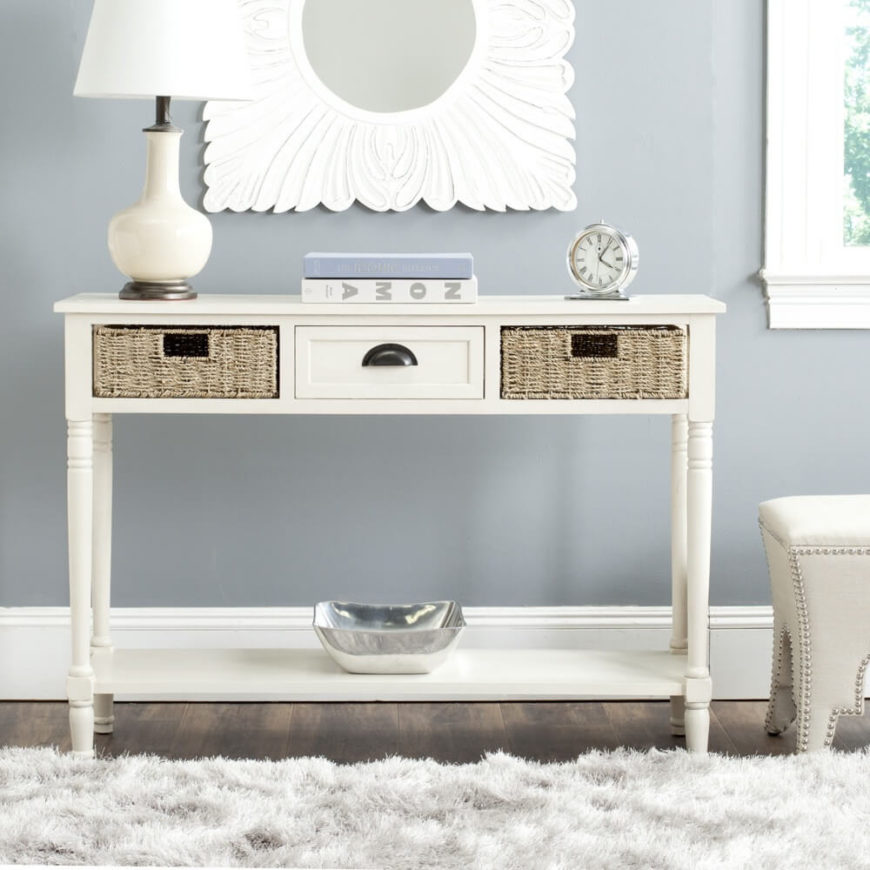 This Long White Console Table Has Decorative Table Legs Along With A Single  Wooden Drawer And