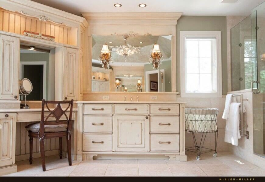 The Large Mirror Above The Distressed Rustic Chic Vanity Is Built Into The  Ornate Frame