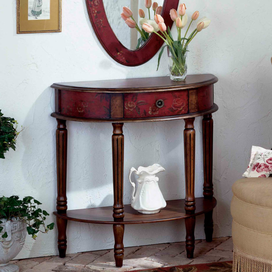 Floral Inlays On The Front Of This Lovely Red And Rich Wood Foyer Table Add  A