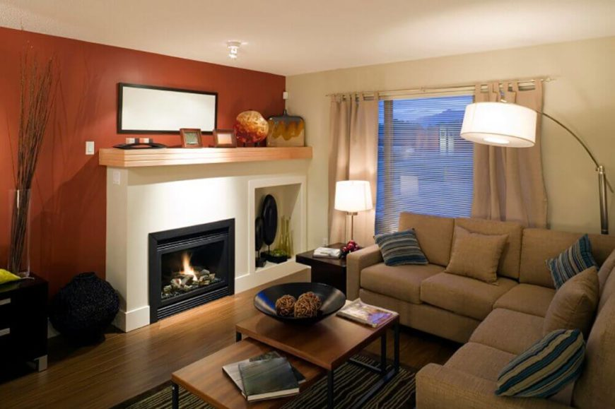 or add an accent wall in a warm tone to add a cozy feeling adding - Interior Design Living Room Warm