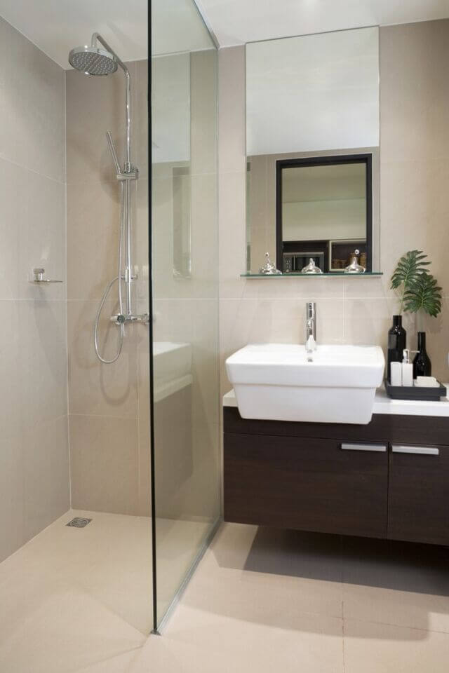 A Simple Bathroom With Modern Touch This Space Features One Panel Of Glass As