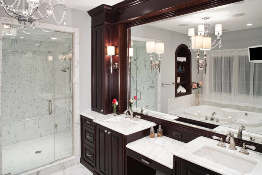 Elegant Dark Wood And Marble Bathroom