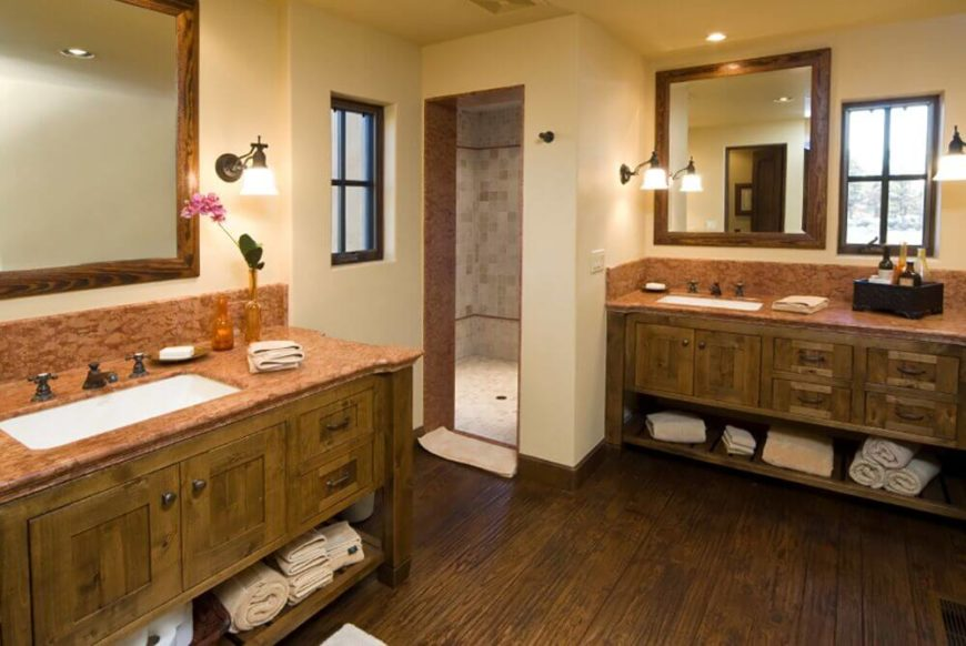 The Rosy Granite Countertops Compliment The Dark Cabinetry And Stained  Wood Floor An Extra 28 Gorgeous Bathrooms With Dark Cabinets LOTS OF VARIETY