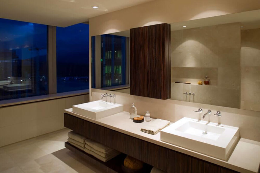 A Minimalist And Modern Bathroom, This Space Is Crisp And Organized. Rich  Wood Grain