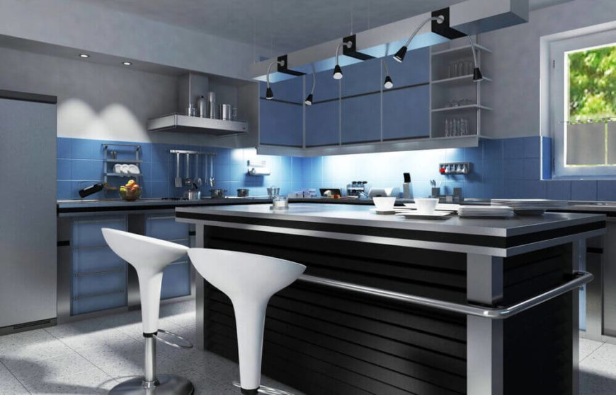 This kitchen is full of interesting lighting fixtures. The under cabinets lights do a great job of illuminating the counters and the kitchen as a whole. Small spotlights in the ceiling make up for what the cabinets lights can't reach. The creative hanging lights over the island offer great directional light.