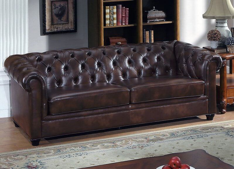 Here Is A Perfect Example Of A Classically Styled Brown Leather Sofa With  Rolled Arms.