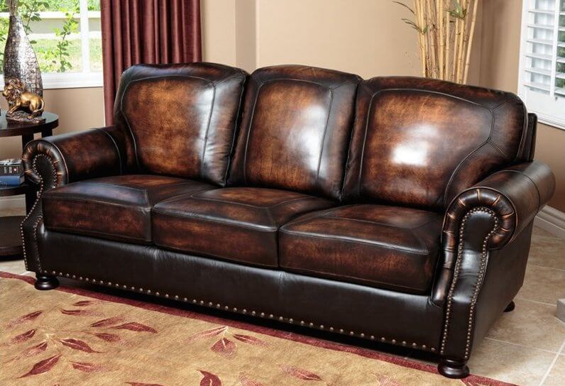Merveilleux The Rich Burnt Tone Of This Luxurious Leather Sofa Enhances The Sense Of  Traditional Charm. Roll Arms And Base Feature Nailhead Trim, While The  Carefully ...