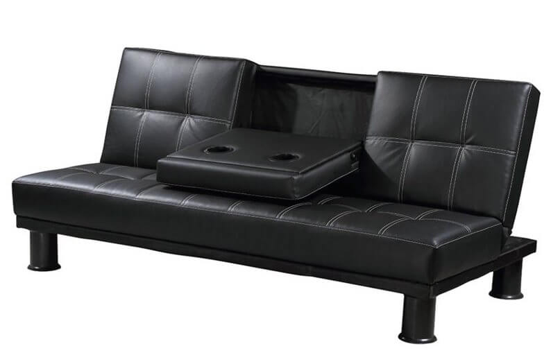 We love convertible sofas because they offer an added layer of comfort when transformed into their bed configuration. This black leather example features a fold-down cupholder and dining platform, plus light stitching for a high contrast look.