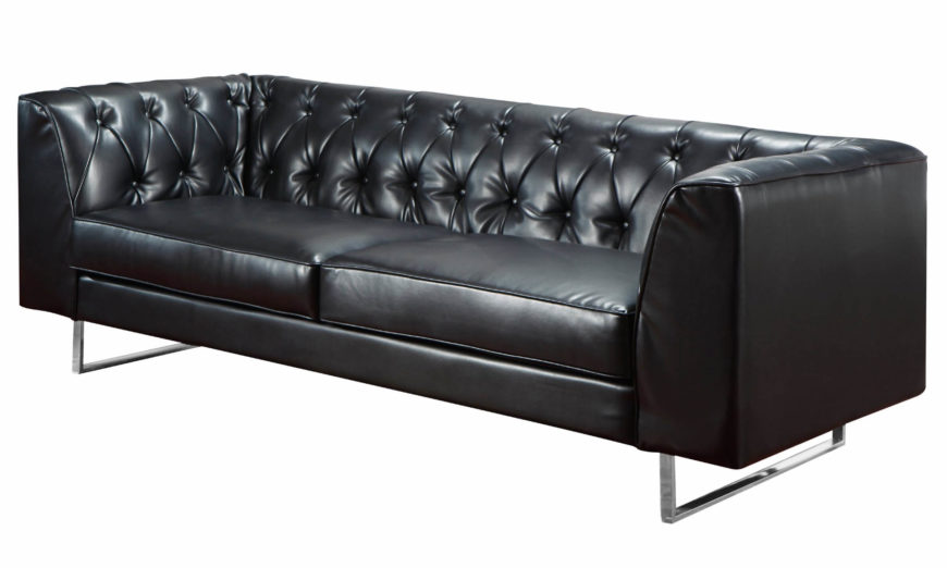 Contemporary black leather button tufted sofa.
