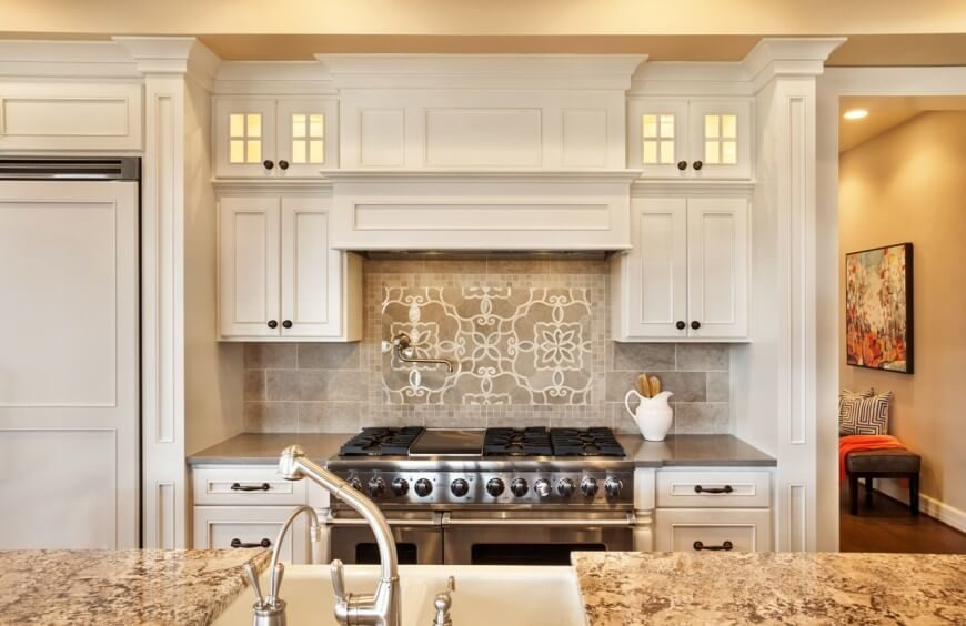 Stark White Cabinetry Is Complimented By A Light Grey Tile Backsplash And  Rich Textured Granite Countertops