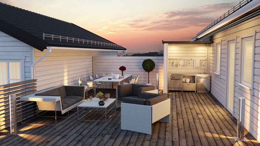 A Rooftop Patio With A Natural Hardwood Deck, Contemporary Furniture, And A  Small Outdoor